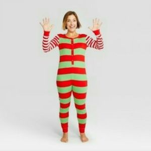 Wondershop XXL Holiday striped union suit pajamas